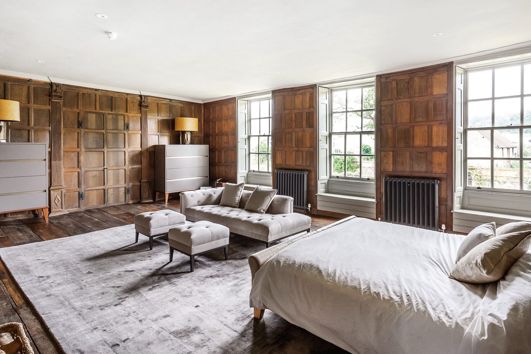 Grade 2 listed manor house bedroom KM Grant