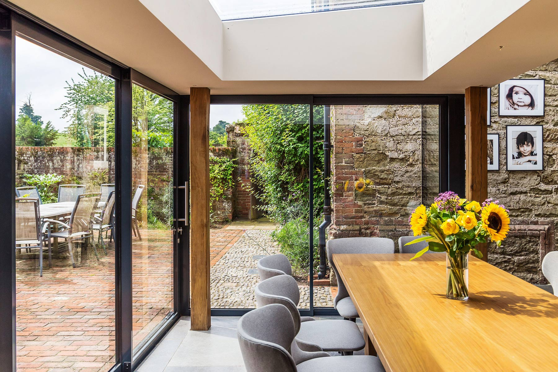 Grade 2 listed manor house interior of glazed extension KM Grant